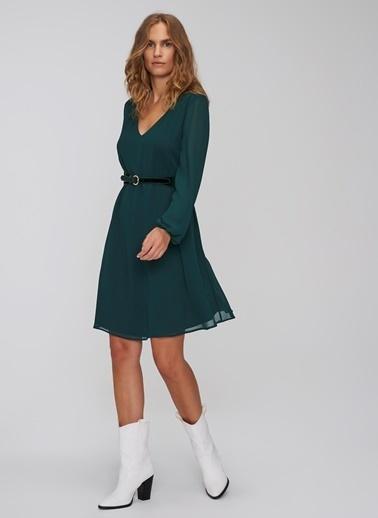 People By Fabrika V Yakalı Şifon Elbise Yeşil